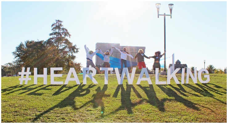 #HeartWalking Sign With Participants Jumping