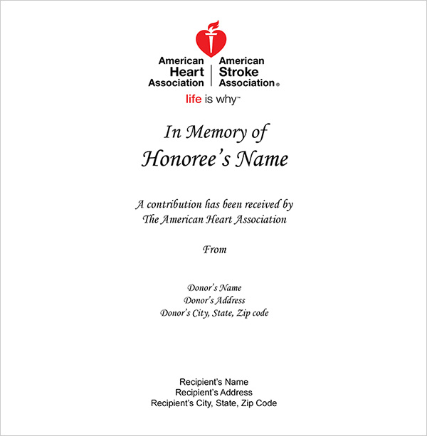 Sample print card, In honor of first name and last name. A contribution has been recieved by the American Heart Association
